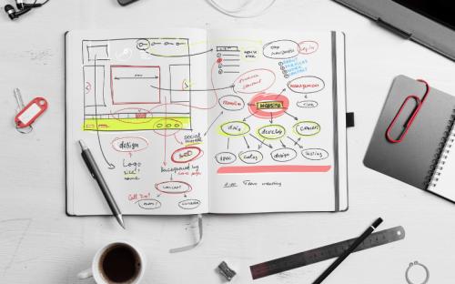 Un cuaderno sobre un escritorio blanco tiene escrito un borrador para diseñar un sitio web