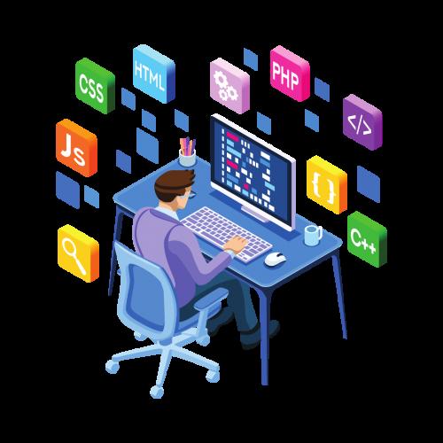 Ilustración de un diseñador web trabajando frente a una computadora